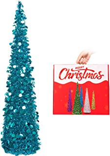N&T NIETING Christmas Tree,5ft Collapsible Pop Up Christmas Tree Blue Tinsel Coastal Christmas Tree for Holiday Xmas Decorations,Home Display, Office Decor