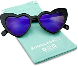 Oversized Heart-Shaped Round Colorful Flat Mirror Lens Love Sun Glasses
