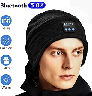 Bluetooth Beanie, Bluetooth Hat, Gifts for Men Wireless Headphones Beanie with Built-in Microphone, Fit for Outdoor Sports, Skiing,Running, Skating, Walking, Men's Christmas Birthday Gifts (Black)