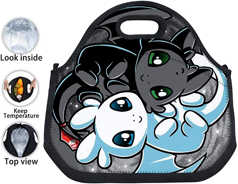 VSHFGC Neoprene Lunch Tote How To Train Your Dr Agon 3 Reusable Insulated Lunch Bag Lunchbox Handbags Tote For Adults Kids Nurse Teacher Work Outdoor Travel Picnic