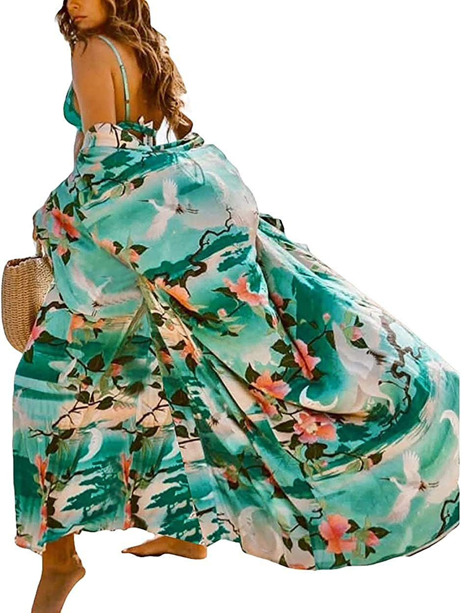 Veggicy Swimsuit Cover Up for Women Bathing Suit Cover Up Long Kimono Beach Coverups for Women Green