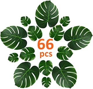 CADNLY Artificial Tropical Palm Leaves Decorations 66 pcs Fake Leaf for Hawaiian Tropical Party Decorations Jungle Theme Party Supplies Safari Baby Shower Center Pieces for Party Tables