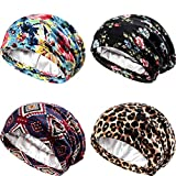 4 Pieces Satin Lined Sleep Cap Double Layer Silk Sleeping Bonnet Slouchy Beanie Slap Hat for Women Curly Hair (Black, Blue and Wine Red, Leopard, Blue and Pink)