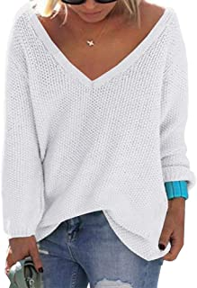 PiePieBuy Women's Oversized V Neck Fall Sweater Pullover Lightweight Loose Knit Jumpers Tops