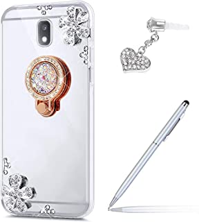 ikasus Galaxy J7 Pro Case,Galaxy J7 Pro Mirror Case, Inlaid Diamond Flowers Rhinestone Diamond Glitter Bling Mirror TPU Case & Ring Stand +Touch Pen Dust Plug for Galaxy J730 J7 Pro (2017),Silver