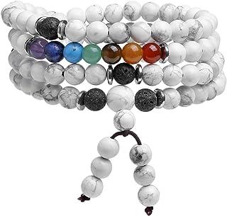 Jovivi 6mm Multilayer 108 Mala Beads Wrap Bracelet 7 Chakra Healing Crystal Necklace Natural Obsidian Stone Tiger Eye Lava...