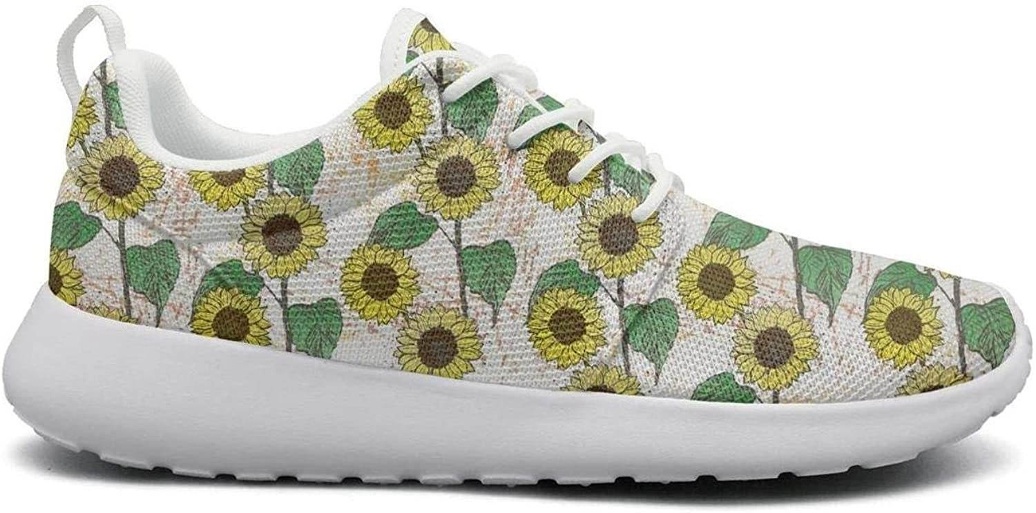 CHALi99 Fashion Female's Lightweight Mesh shoes Floral Yellow Sunflowers Sneakers Running Shock Absorbing