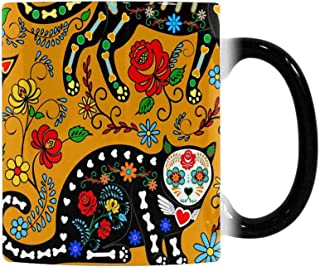 InterestPrint 11 Ounce Heat Sensitive Coffee Mug Travel, Sugar Skull Black Cats the Day of the Dead Color Changing Morphing Tea Cup Outdoor Mug Kitchen Cup for Man Woman Dad Mom Friends