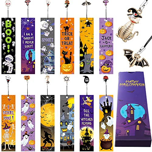 12 Pieces Halloween Theme Bookmarks Halloween Ruler Bookmarks Pumpkins Skulls Page Marker with 12 Pieces Metal Charms for Classroom Rewards Trick or Treat Prizes Present for Kids Boys Girls Adults