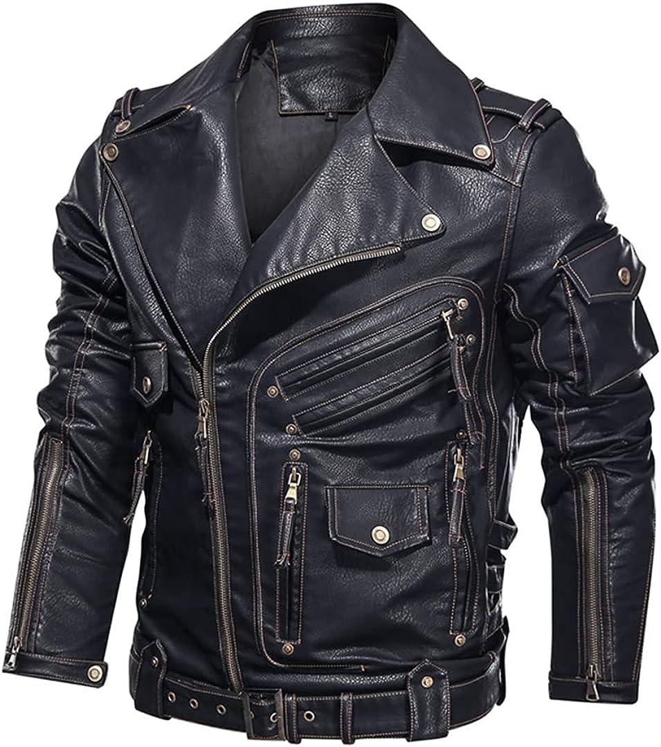 Mens Winter Leather Jacket Motorcycle PU Leather Jacket Men Cool Zipper Multi-Pocket Leather Bike Coats