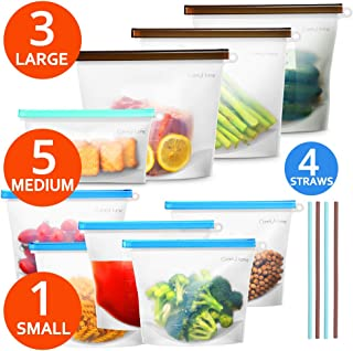 Reusable Silicone Food Storage Bag 9-pack, Airtight Food Preservation Bag Keep Food Fresher, Versatile Lunch Bag for Sandwich, Cooking, Sous Vide, Liquid, Snack, Freezer Safe, 3 Large+5 Medium+1 Small