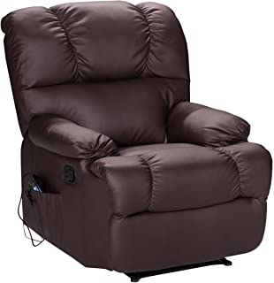Giantex HW52719BN Sofa Heating Set and 8 Vibrating Modes, Ergonomic Full Body Leather Massage Chair Recliner with Control for Home, Living Room (Brown)