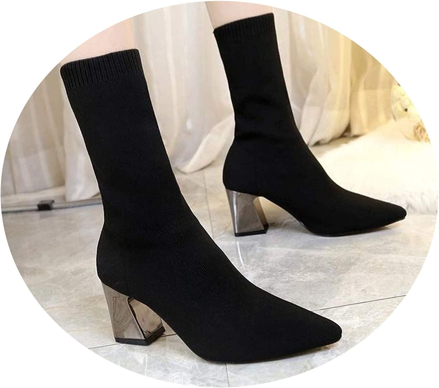 Meet- fashion Ankle Elastic Sock Boots Chunky High Heels Stretch Women Autumn Sexy Booties Pointed Toe Women Pump
