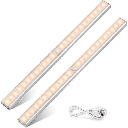 Lampe de Placard Rechargeable par USB, TASMOR 24 LED sans Fil Magnétique Veilleuse LED Détecteur de Mouvement 40cmx2 Automatique Lumière de Nuit pour Armoire, Escalier, Bureau, Cuisine, Tiroir...