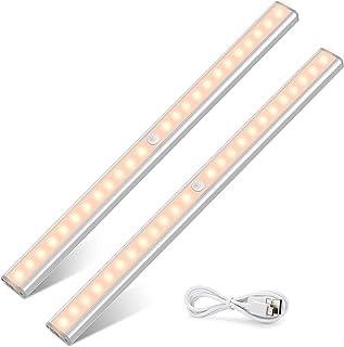 Tasmor podszafkowa lampa LED z czujnikiem ruchu, 48 diod LED, ładowana przez USB, listwa LED z paskiem magnetycznym do kuc...
