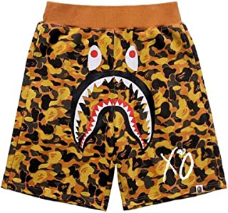 Men's Bape Summer Orange Camo Shark Teeth Printed Cotton Casual Shorts