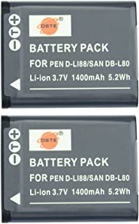 DSTE® 2x D-LI88 LI88 Li-ion Batería para Pentax Optio H90 P70 P80 W90 WS80