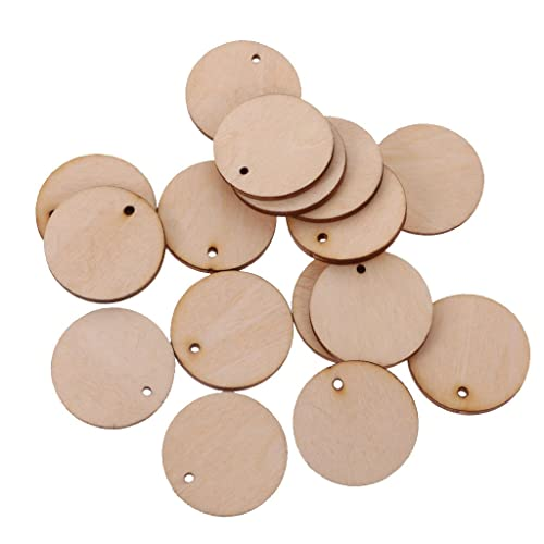 Segolike 100 Pieces Unfinished Blank Wood Pieces Slices Round Hanging Gift Tags with Hole for Crafts DIY 30mm