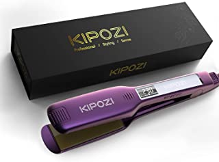 Professional Hair Straighteners 1.75 Inch Wide Plate Titanium Flat Iron with Digital LCD Display, Purple Hair curlers WSYGHP