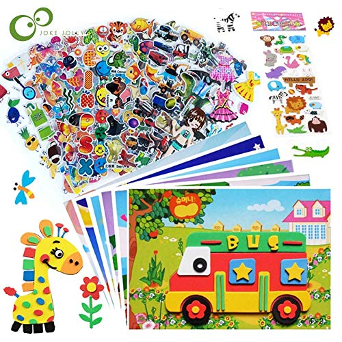 15Pcs/lot 5 3D EVA Foam Stickers + 10 Bubble Stickers Puzzle Game DIY Cartoon Animal Learning Education Toys For Children GYH