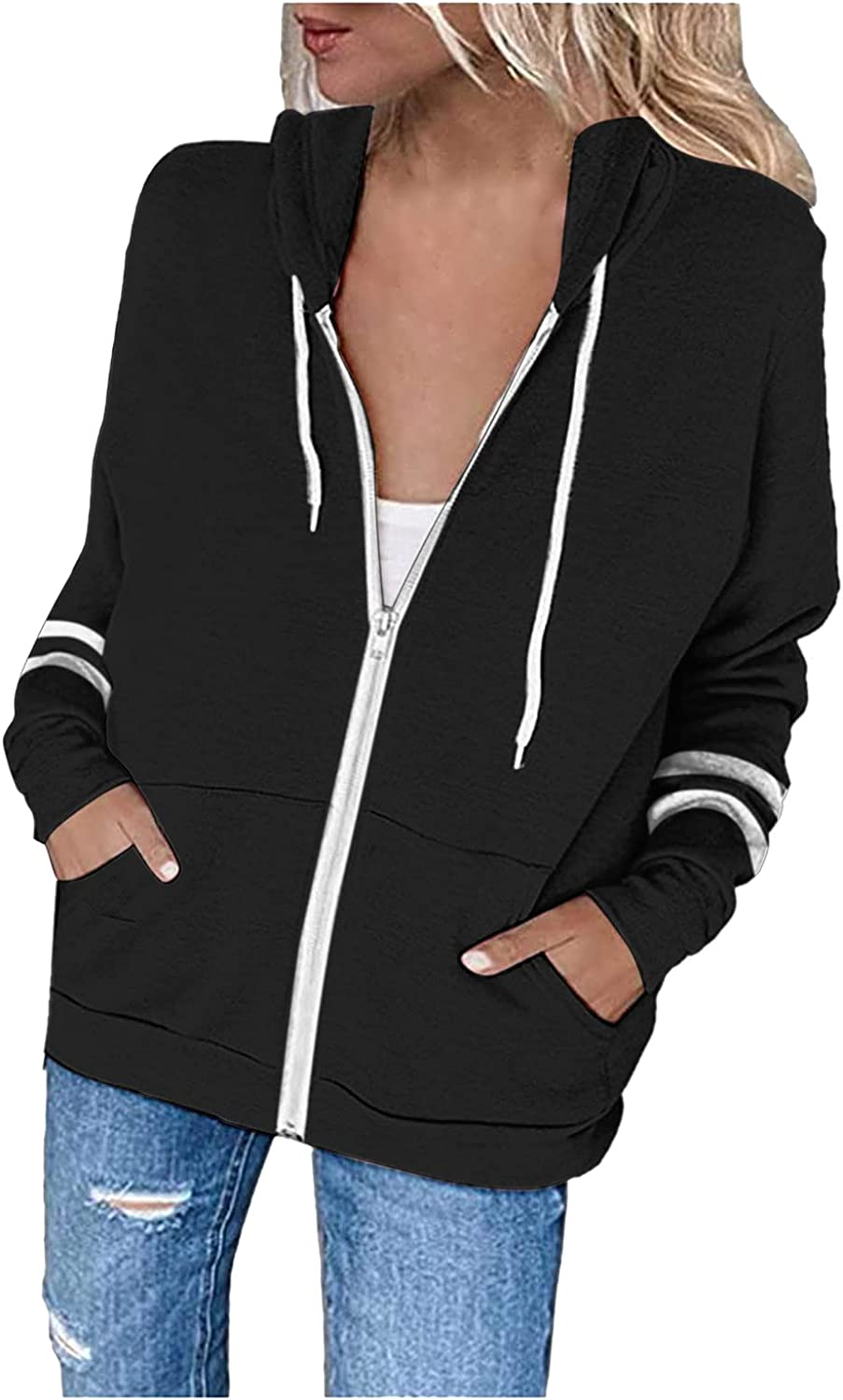 Hoodies Mesa Mall for Colorado Springs Mall Women Casual Solid Color Up Hooded Sweatshirts Zip S