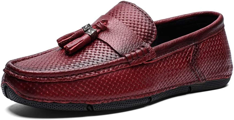 Jialun Schuhe, Bequeme Outdoor-Schuhe, für Herren, Stiefel, Mokassins, Schlupfstil, echtes Leder, Klassische Quaste, Handlichkeit, leichte Webstruktur