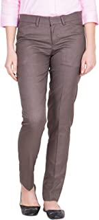 American-Elm Women's Brown Cotton Stylish Solid Ankel Length Formal Trouser for Everyday