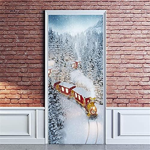 DFKJ Etiqueta de la Puerta Papel Pintado Autoadhesivo Imagen Impresa Papá Noel Artista de la Pared Decoración del hogar Mural Armario Decoración Calcomanía A21 77x200cm