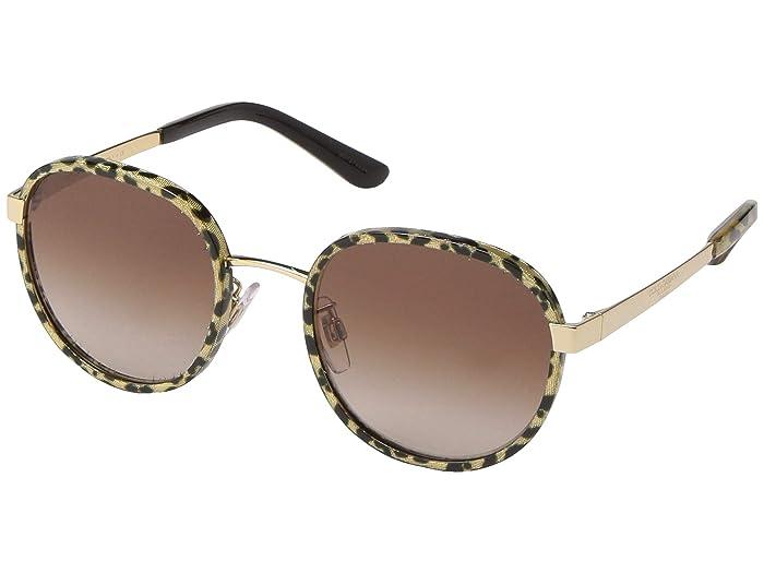 Dolce & Gabbana DG2227J (Leopard Glitter Gold/Brown Gradient) Fashion Sunglasses