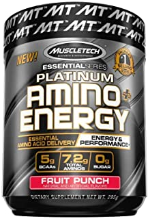 Pre Workout + BCAA Amino Acids | MuscleTech Amino + Energy | Preworkout Powder + BCAAs | Amino Acids Supplement | Fruit Pu...