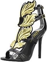 Olivia Jaymes Women's Fashionable Winged Open Toe Gladiator High Heel Ankle Strap Flame/Leaf Rhinestone Studded Stiletto Dress Sandal