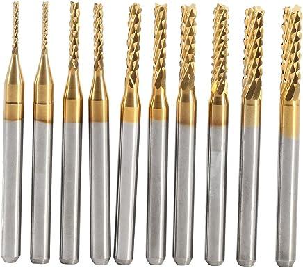 10 pz Titanio Rivestito Mulino Set Carburo di Cemento CNC Frese Frese Per Incisione Carving Drill Strumenti 1.0-3.0mm