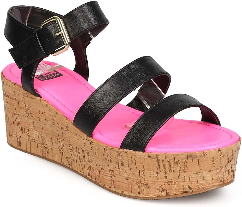 Bumper FA81 Women Leatherette Open Toe Platform Cork Gladiator Sandal - Black