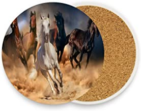 Running Horse Coasters, Prevent Furniture from Dirty and Scratched, Round Wood Coasters Set Suitable for Kinds of Mugs and Cups, Living Room Decorations Gift 1 piece