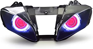 KT LED Angel Eye Headlight Assembly for Yamaha R6 2006-2007 V1 Red Demon Eye