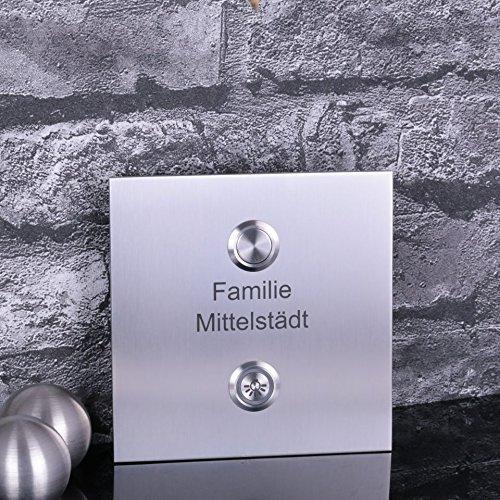 Türklingel Edelstahl mit Lichttaster 120 x 120 mm Klingelschild Klingelplatte Türklingelschild 165.BM.V1 von tuerklingel-shop