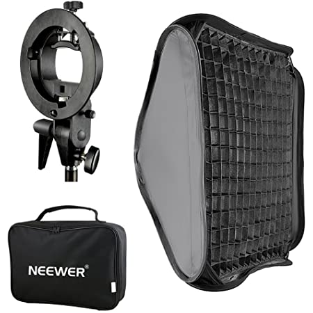 Neewer®, soporte de luz con rejilla y fijación Bowens de 24 x 24/60 x 60cm; soporte de flash para Nikon SB-600, SB-800, SB-900, SB-910, Canon 380EX, 430EX II, 550EX, 580EX II, 600EX-RT, Neewer TT560Flash Speedlite