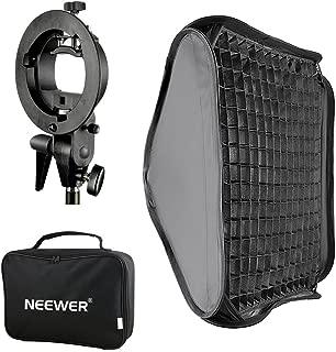 Neewer 24x24 inches Bowens Mount Softbox with Grid and S-Type Flash Bracket for Nikon SB-600, SB-800, SB-900, SB-910, Canon 380EX, 430EX II,550EX,580EX II,600EX-RT, Neewer TT560 Flash Speedlite