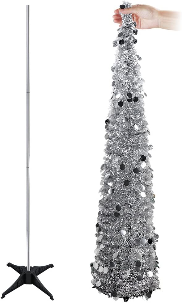 Aytai 5ft A surprise price Ranking TOP8 is realized Collapsible Christmas Tree Tinsel Chri Silver Coastal