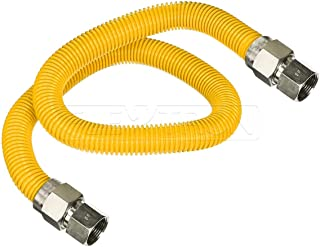 Flextron FTGC-YC38-72E 70 Inch Flexible Epoxy Coated Gas Dryer Connector with 1/2 Inch Outer Diameter & 1/2 Inch FIP x 3/8 Inch FIP Fitting, Yellow/Stainless Steel, Excellent Corrosion Resistance