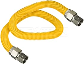 Flextron FTGC-YC38-60E 60 Inch Flexible Epoxy Coated Gas Dryer Connector with 1/2 Inch Outer Diameter & 1/2 Inch FIP x 3/8 Inch FIP Fitting, Yellow/Stainless Steel, Excellent Corrosion Resistance