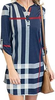 Chuanqi Womens 3/4 Roll Sleeve Plaid Tunic Dresses V Neck Button Henley T Shirt Midi Dress