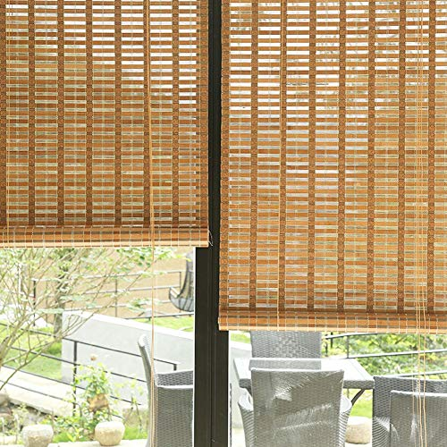 ERRU Waterproof Window Blinds with Hooks, Wooden Bamboo Roller Shades for Indoor Outdoor Gazebo Pergola Garden, 80/100/ 120cm Wide (Size : 100×180cm/39.4×70.9in)