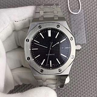 Luxury Brand Stainless Steel Silver Color Black dial Automatic Movement Oak Watch Watches