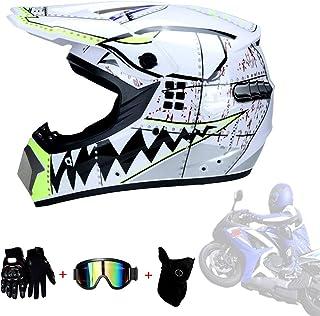 <h2>AMINSHAP Integralhelm, White Shark Motocross Helm Für Mann Und Frau Motocross Helm Mit Geschenken Schutzbrille Maske Handschuhe Moto Racing, Vier Jahreszeiten Bequem Und Atmungsaktiv</h2>