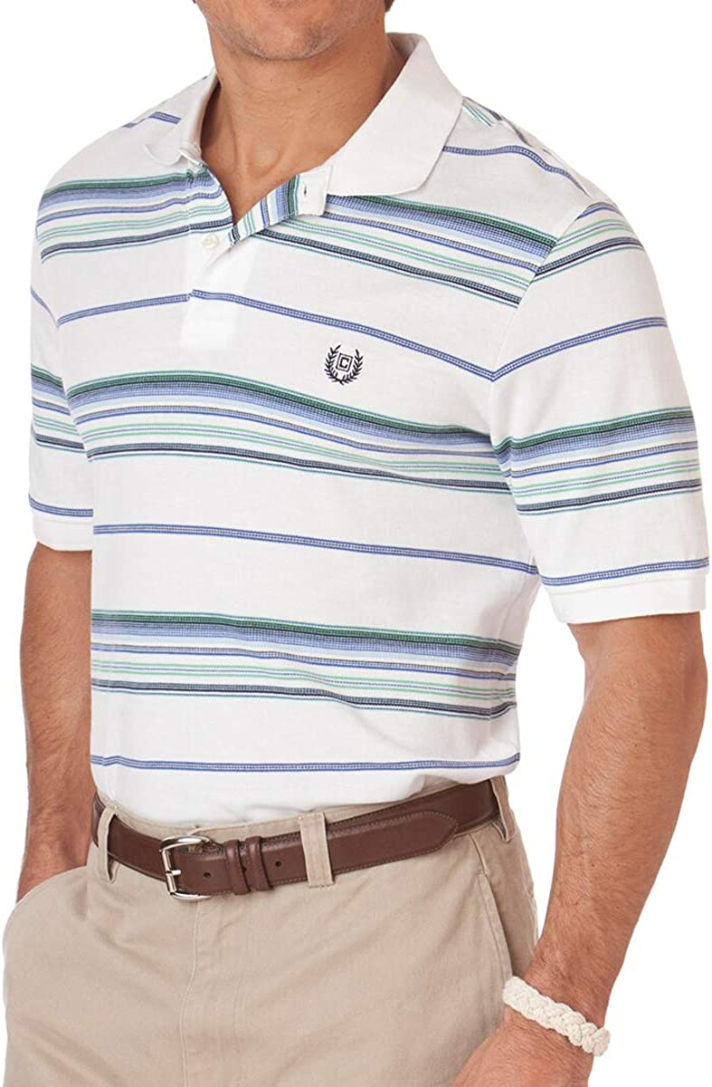 Chaps by Ralph Lauren Men's Striped Pique Rugby Polo Shirt White, XX-Large Tall