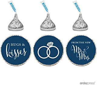 Andaz Press Chocolate Drop Labels Stickers, Wedding Hugs & Kisses from The New Mr. & Mrs, Navy Blue, 216-Pack, for Bridal Shower Engagement Hershey's Kisses Party Favors Decor