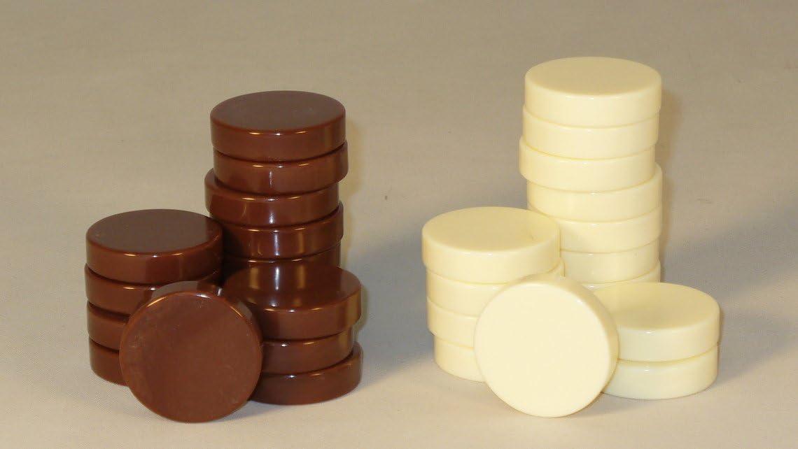 Deluxe Backgammon Stones Brown /& Ivory 26mm