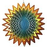 【インテリアにもガーデニングにも】 マジカルスピナー サンスプラッシュ 直径15cm 銅/緑/青 ステンレス製 ウインドスピナー