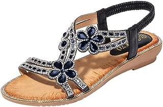 Nuevo Sandalias Planas de Las Mujeres Dedo del Pie Zapatos de Flor de Strass para Mujer con Hebilla Sandalias Cinta Elástica Casuales de Playa para Mujer Tamaño Grande